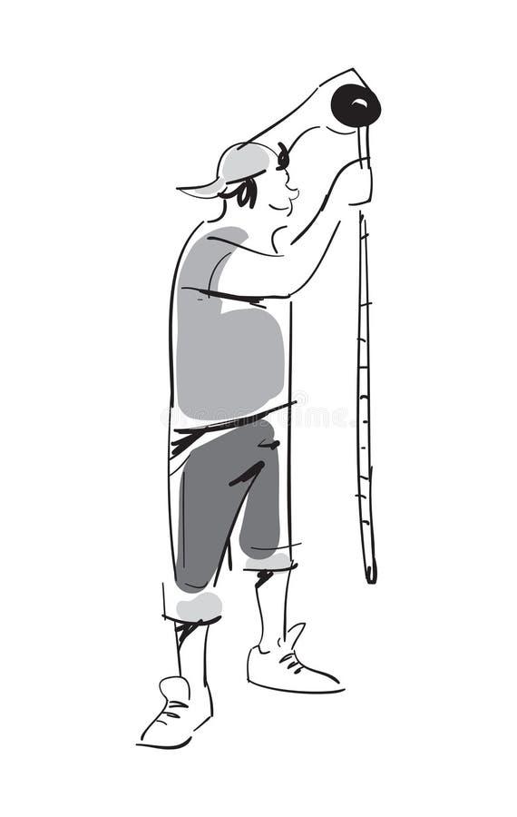 Junger Mann mit messender Roulettevektorikone lizenzfreie abbildung