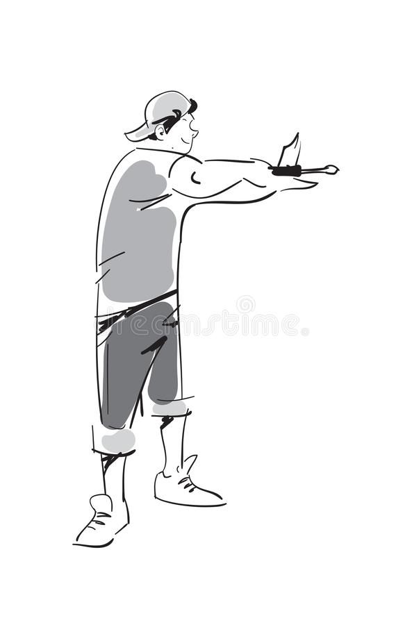 Junger Mann mit Schraubenziehervektorikone vektor abbildung