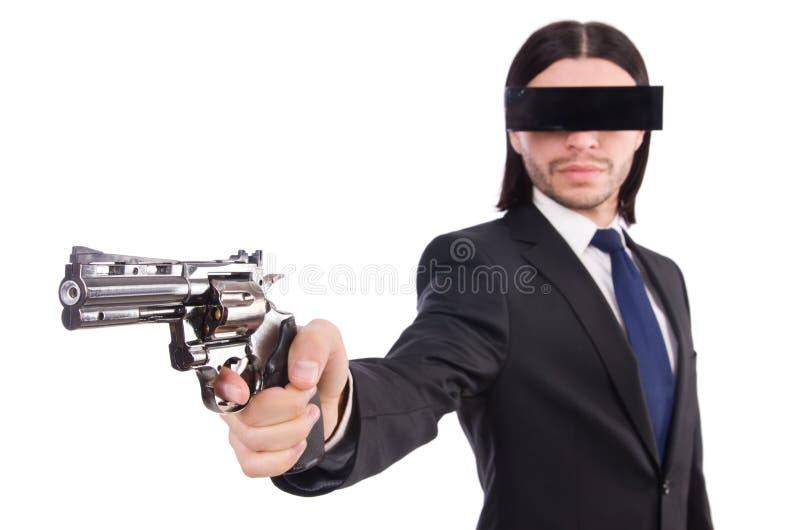 Junger Mann mit schwarzer Gesichtsmaske auf Wei? lizenzfreie stockfotos