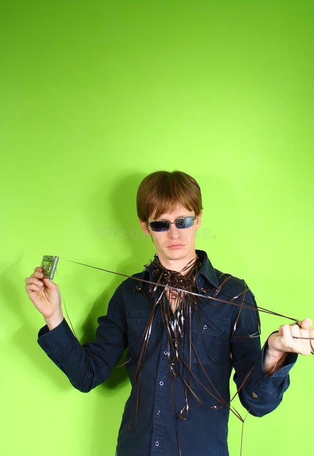 Junger Mann mit stereotape stockfoto