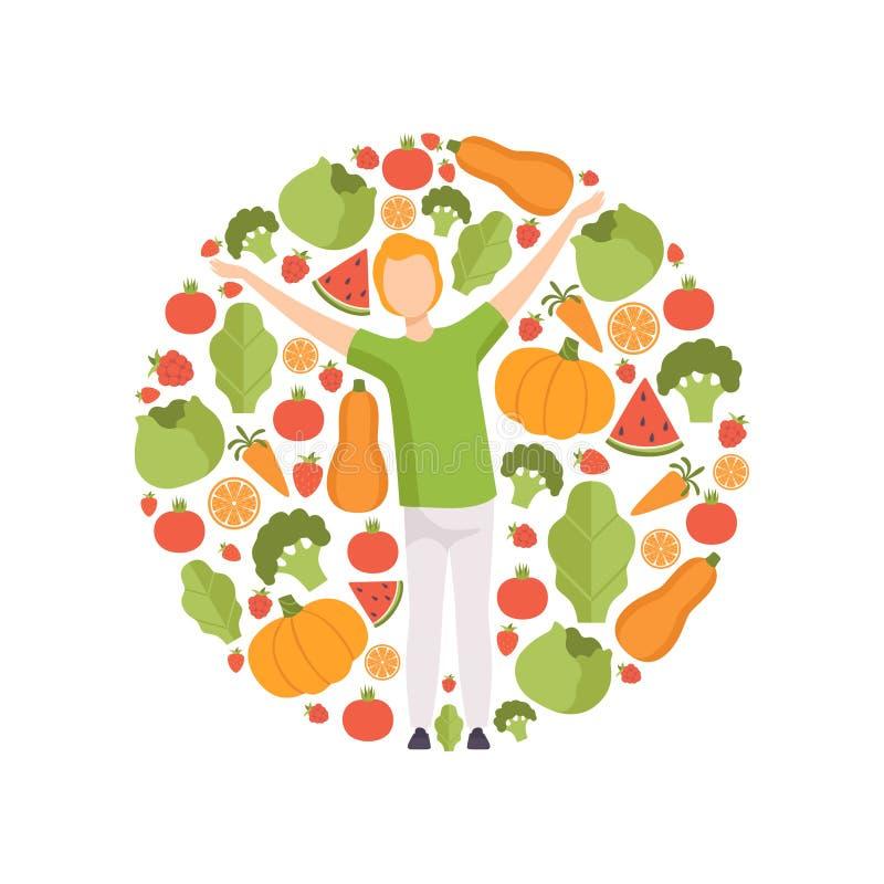 Junger Mann umgeben durch Gemüse und Früchte, gesunde Ernährung, Diät, organische Illustration Vektor des strengen Vegetariers Na lizenzfreie abbildung