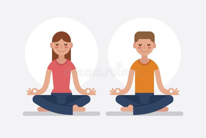 Junger Mann und die Frau, die im Lotos meditiert, werfen auf stock abbildung