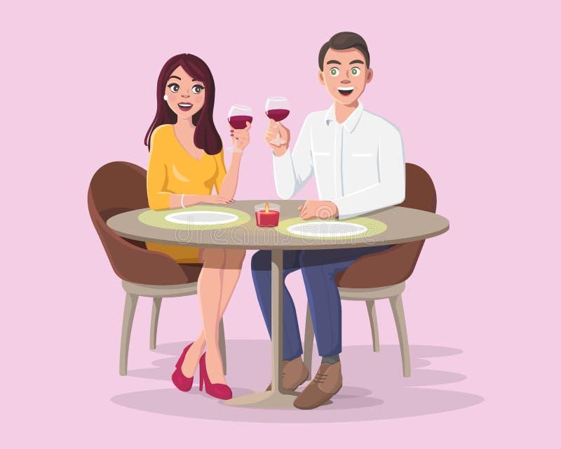 Junger Mann und Frau auf einem romantischen Datum vektor abbildung