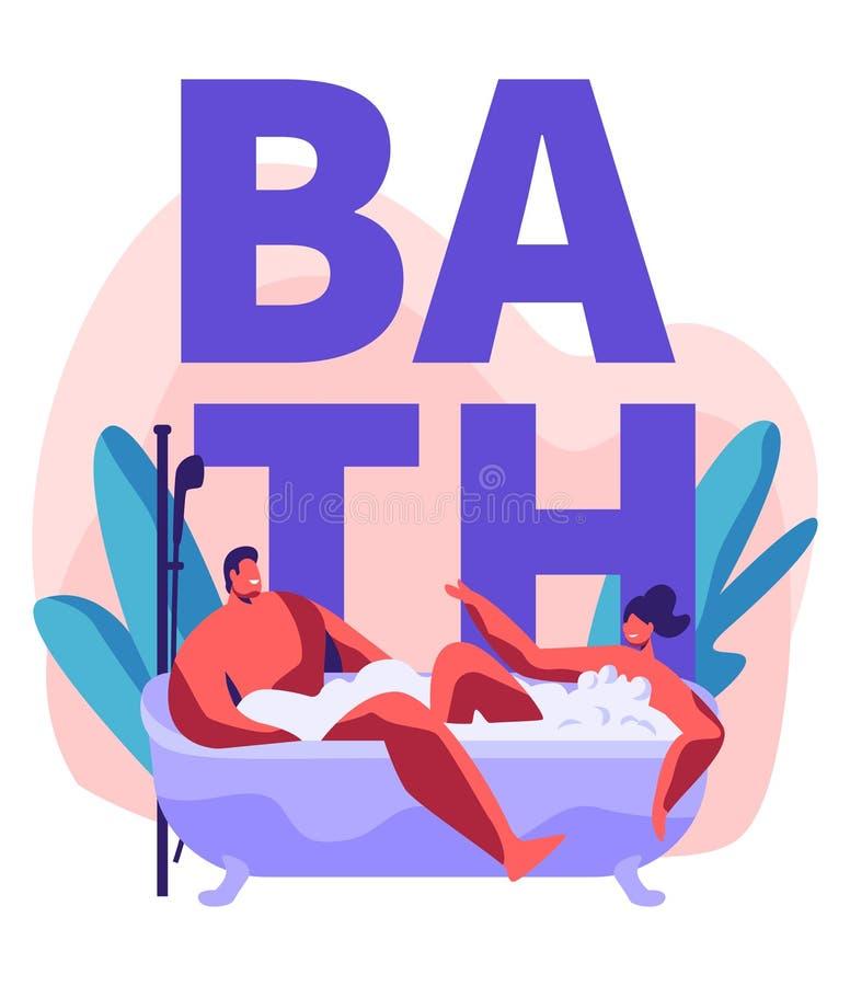Junger Mann und Frau, die das Schaumbad voll vom Schaum nimmt Romantisches Datum im Wellness-Hotel-Badezimmer, Jungvermählten-Fli vektor abbildung