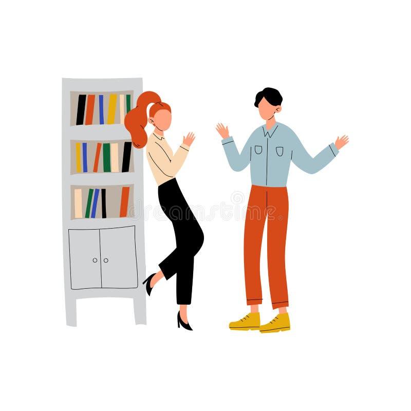 Junger Mann und Frau, die im Büro, Kollegen zusammenarbeiten, Kommunikation zwischen den Mitarbeitern, freundlich spricht vektor abbildung