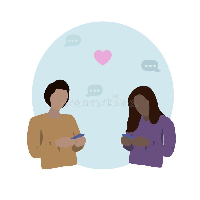 Junger Mann und Frau von den verschiedenen Rennen, die ihre Telefone betrachten und Mitteilungen durch Anwendung senden lizenzfreie abbildung