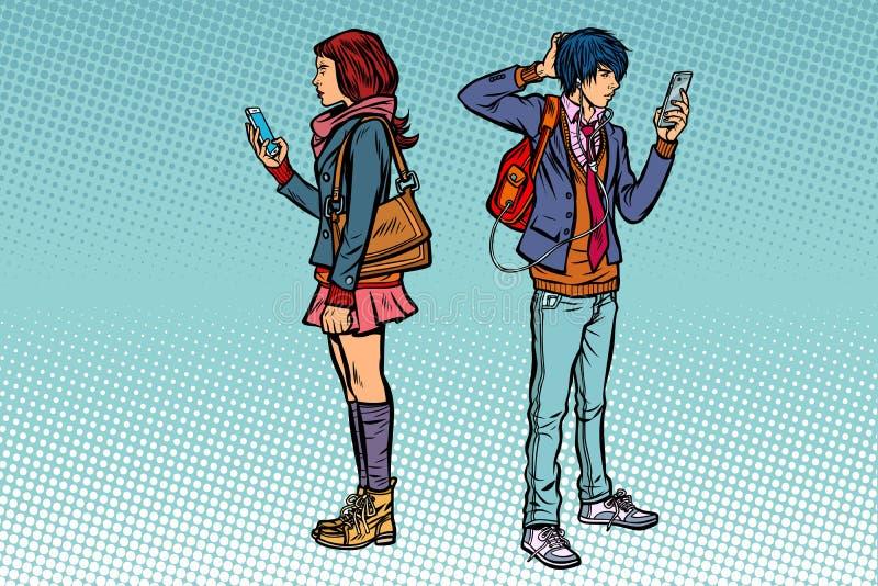 Junger Mann und Mädchen Jugendlich Paare mit Smartphones lizenzfreie abbildung