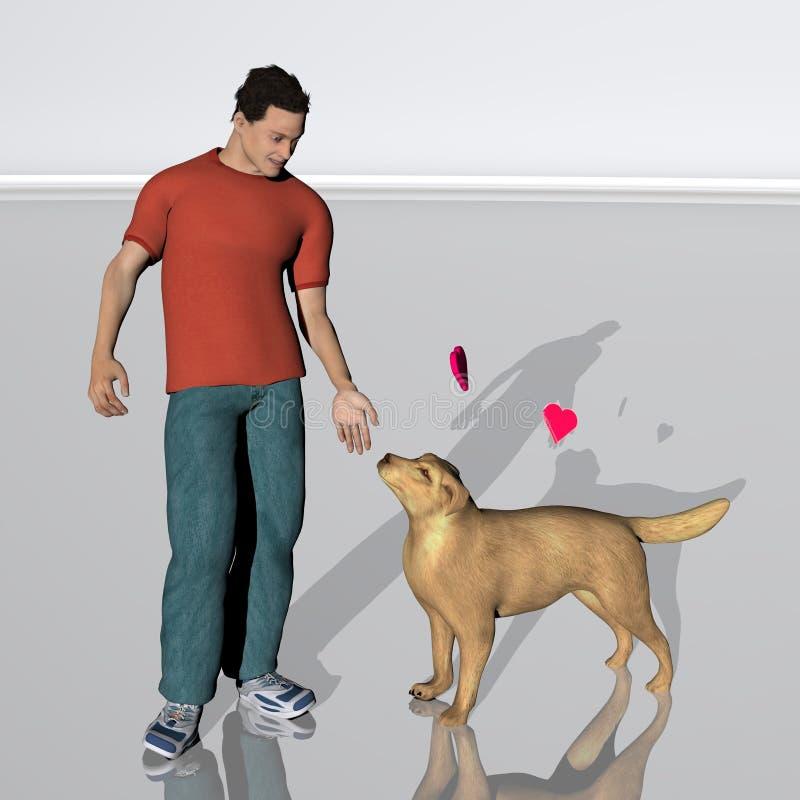 Junger Mann und sein Hund stock abbildung