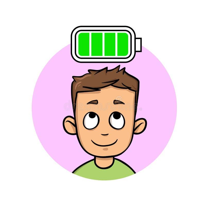 Junger Mann voll von Energie, völlig aufgeladene Batterie Flache Vektorillustration Getrennt auf weißem Hintergrund stock abbildung