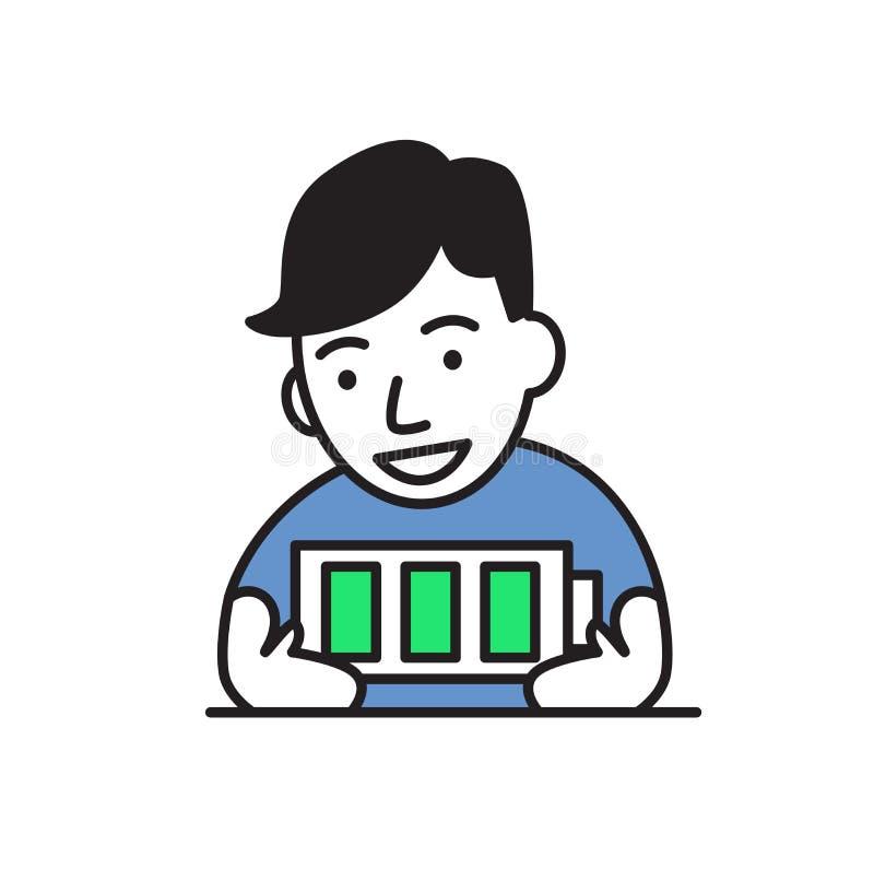 Junger Mann voll von Energie, völlig aufgeladene Batterie Flache Vektorillustration Getrennt auf weißem Hintergrund vektor abbildung