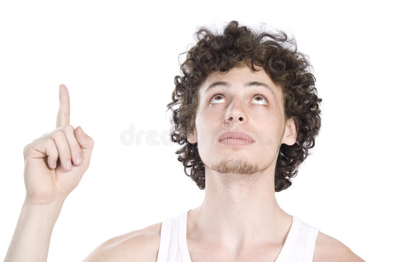 Junger Mann zeigt Richtung stockfotos