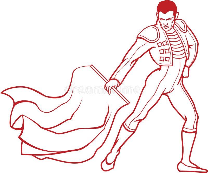 Junger Matador in der traditionellen Kleidung des Stierkampfes mit rotem Lappen lizenzfreie abbildung