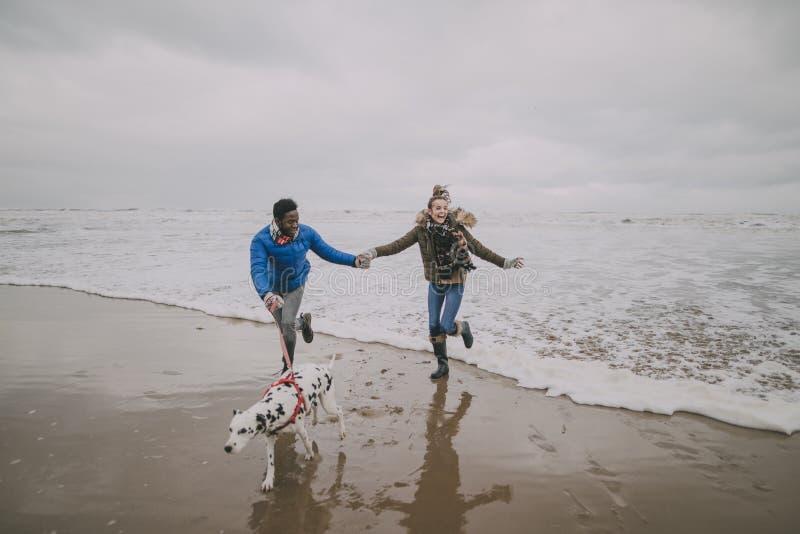 Junger Paartrick bewegt auf Winterstrand wellenartig lizenzfreie stockbilder