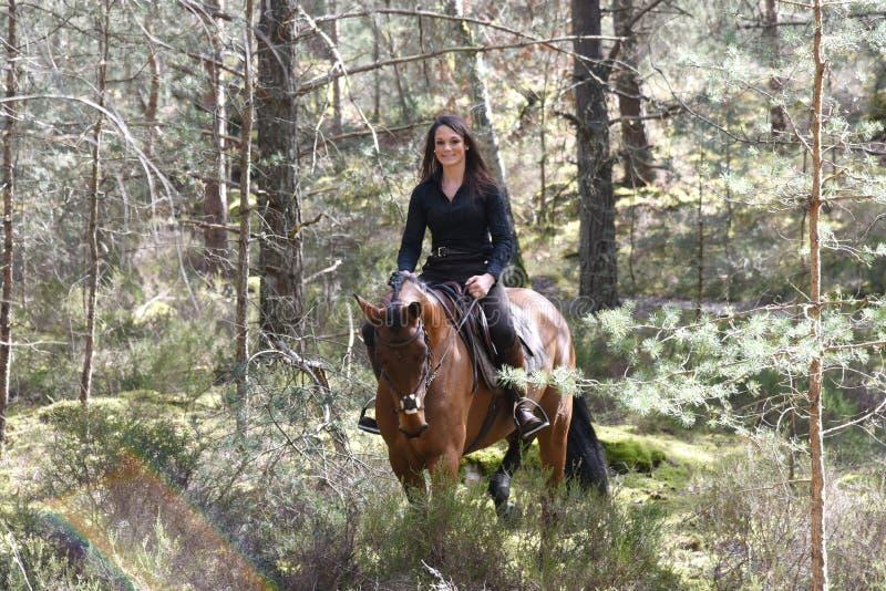 Junger Reiter im Wald lizenzfreies stockfoto