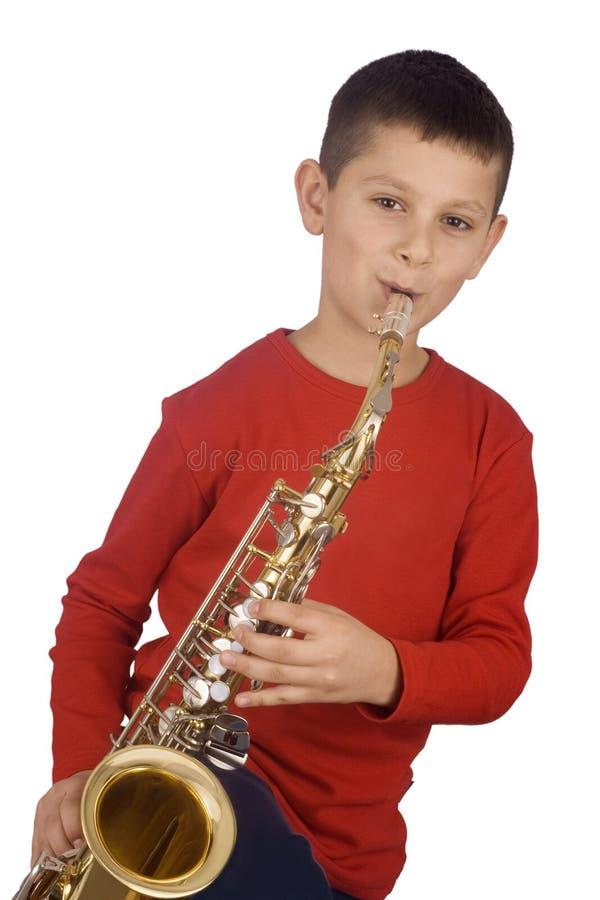 Junger Saxophonspieler stockbild