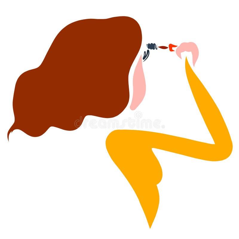 Junger schöner Brunette malt Wimpern mit Wimperntusche stock abbildung