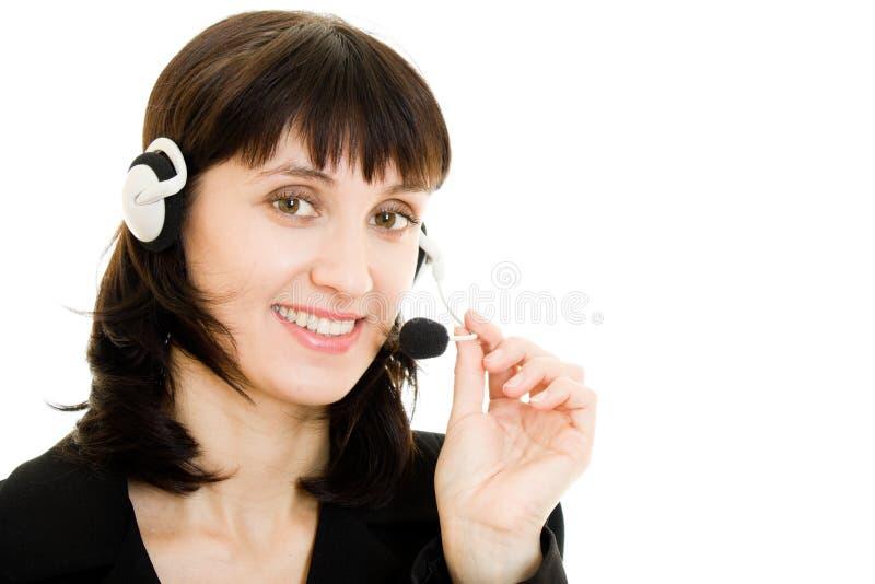 Junger schöner Kundenkontaktcenterfraubediener stockfotos