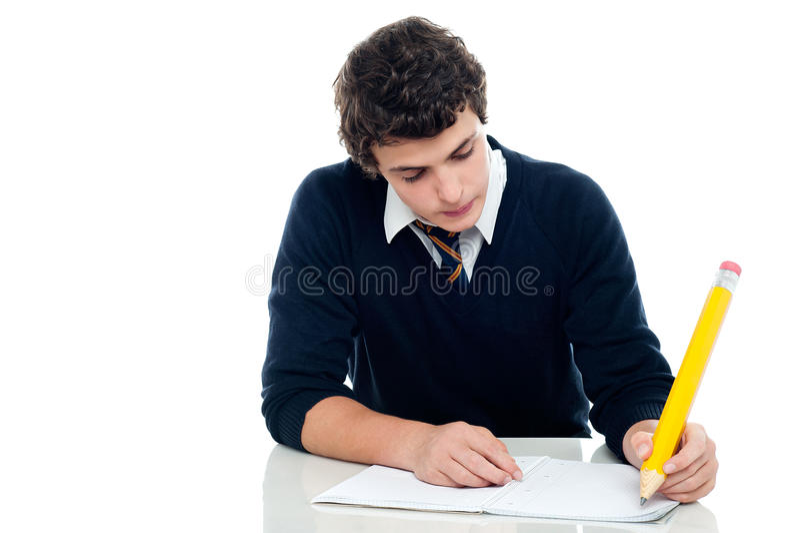 Junger Schüler, der seine Prüfung an der Schule aufnimmt stockbilder