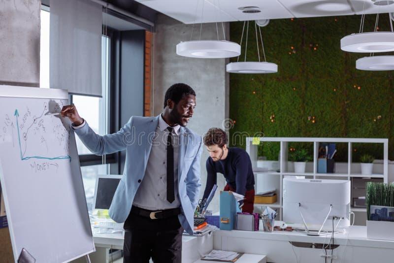 Junger schwarzer Mann, der eine Bürositzung an einer Flip-Chart darstellt stockfotografie