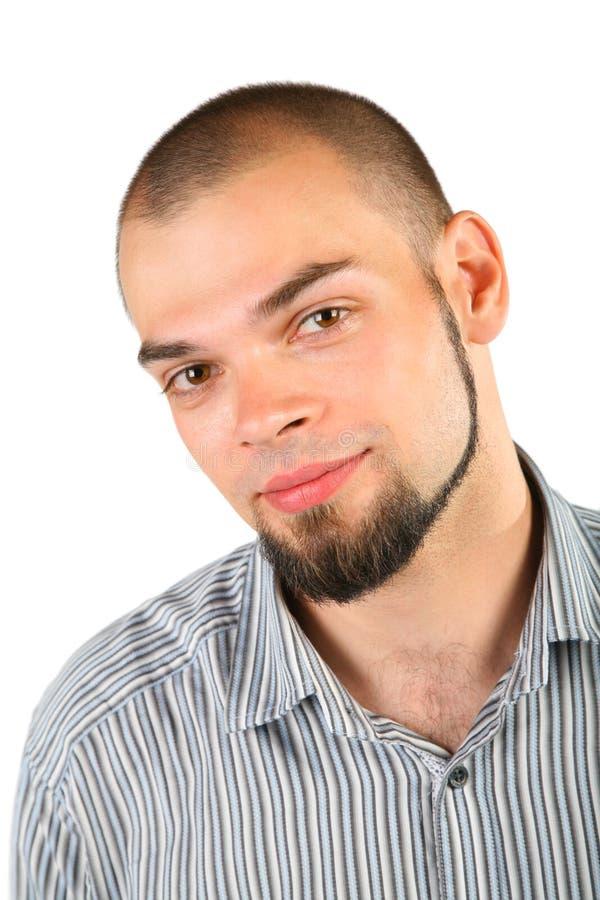 Junger Skinheadbartmann getrennt stockfoto