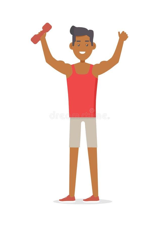 Junger sportiver Athlet mit Barbell Getrennt auf Weiß stock abbildung