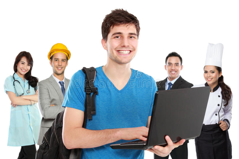 Junger Student vor Leuten in der unterschiedlichen Art des Berufs lizenzfreies stockfoto