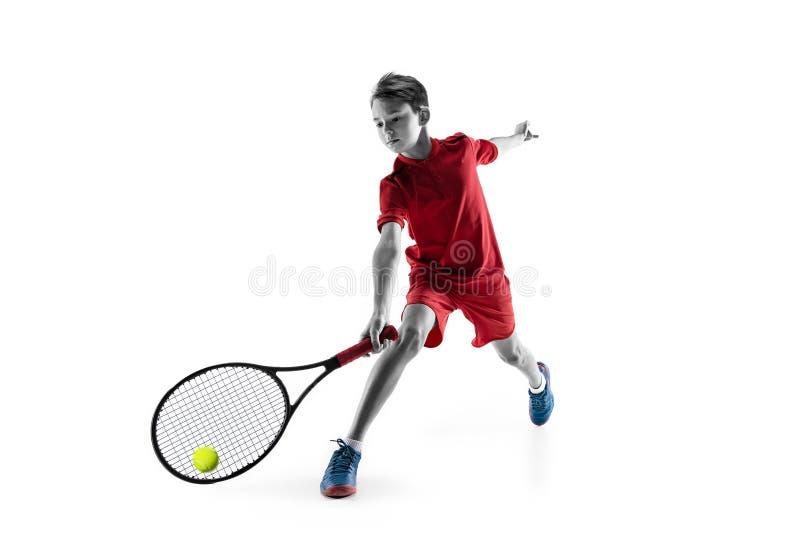 Junger Tennisspieler lokalisiert auf Weiß stockfoto