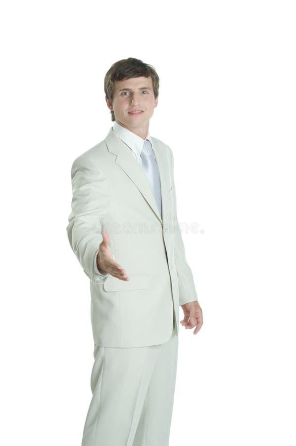 Junger tragender weißer Anzug des Geschäftsmannes lizenzfreie stockbilder