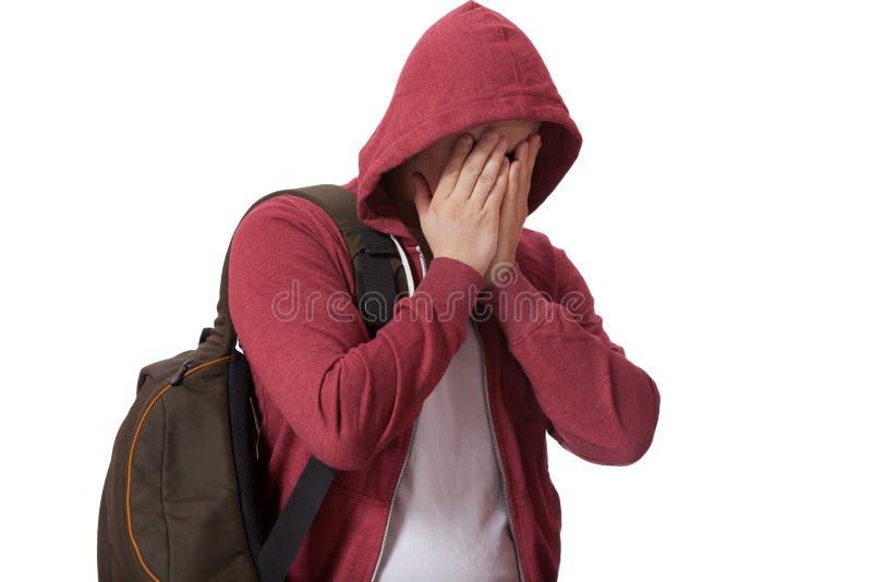 Junger trauriger Teenager lokalisiert auf weißem Hintergrund lizenzfreie stockbilder