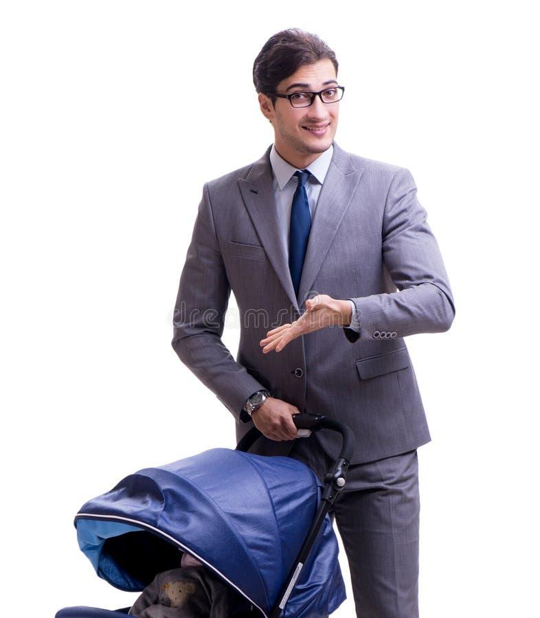 Junger Vatigesch?ftsmann mit Baby Pram lokalisiert auf Wei? stockfotografie