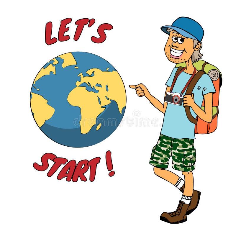 Junger Wanderer bereit, rund um den Globus zu reisen stock abbildung