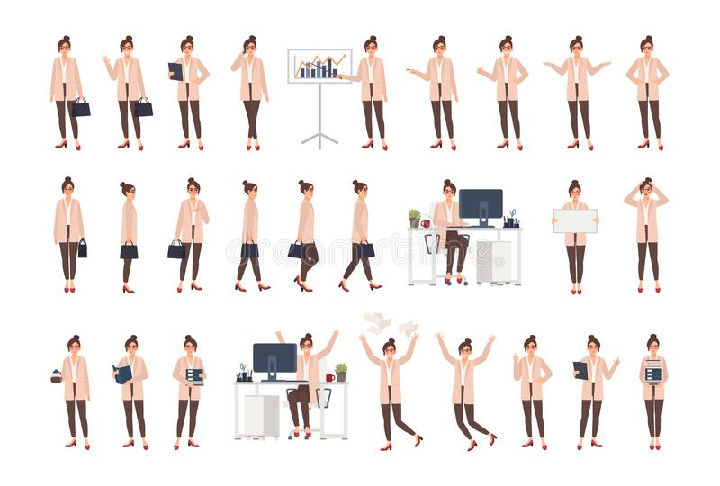 Junger weiblicher Büroangestellter, der intelligente Kleidung in den verschiedenen Positionen, in Stimmungen, in den Situationen  stock abbildung