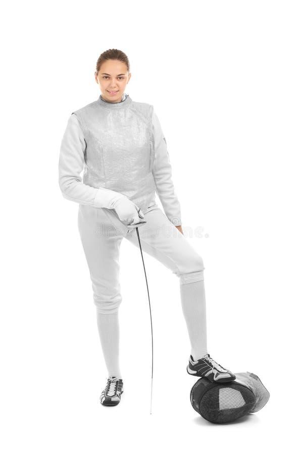 Junger weiblicher Fechter auf weißem Hintergrund stockfoto
