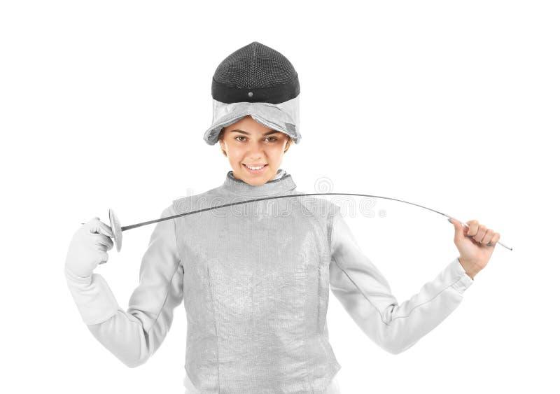 Junger weiblicher Fechter auf weißem Hintergrund stockfotografie