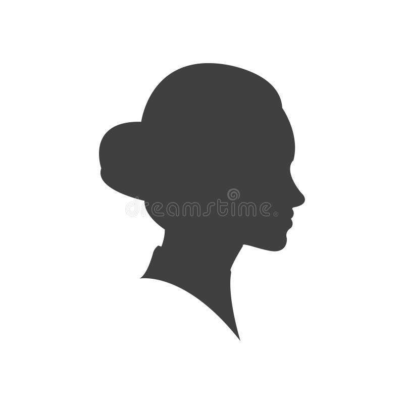 Junger weiblicher Gesichtsentwurf des Schönheitsprofilschattenbildvektors, Schönheitsmädchenkopf, grafisches Porträt Modedame vektor abbildung