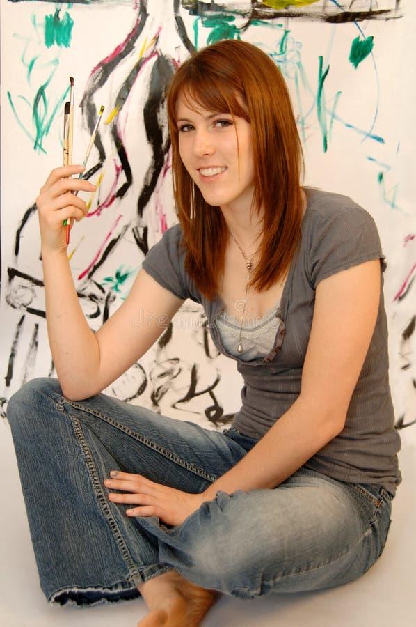 Junger weiblicher Maler oder Künstler stockfotos