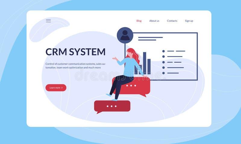 Junger weiblicher Manager erfasst die Informationen über Kunden für CRM lizenzfreie abbildung