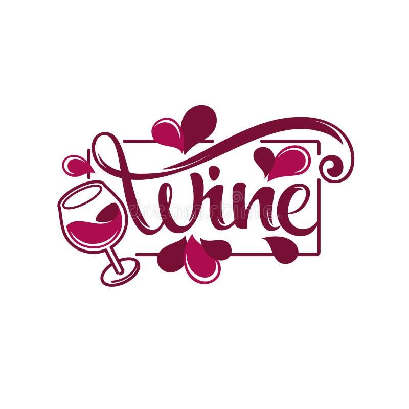 Junger Wein, Rotwein-Spritzen-Welle und Tropfen, Logo, Emblem, Labe stock abbildung