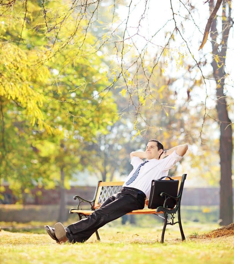 Junger Wirtschaftler, der auf einer Bank sitzt und in einem Park sich entspannt, lizenzfreie stockbilder