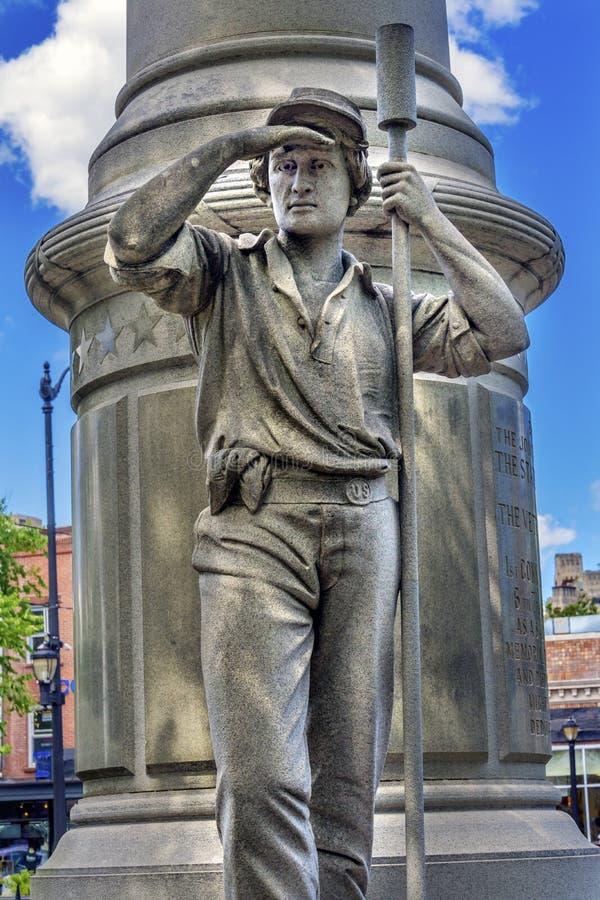 Junges Artillerist-Bürgerkrieg-Monument New-Haven Connecticut lizenzfreies stockbild