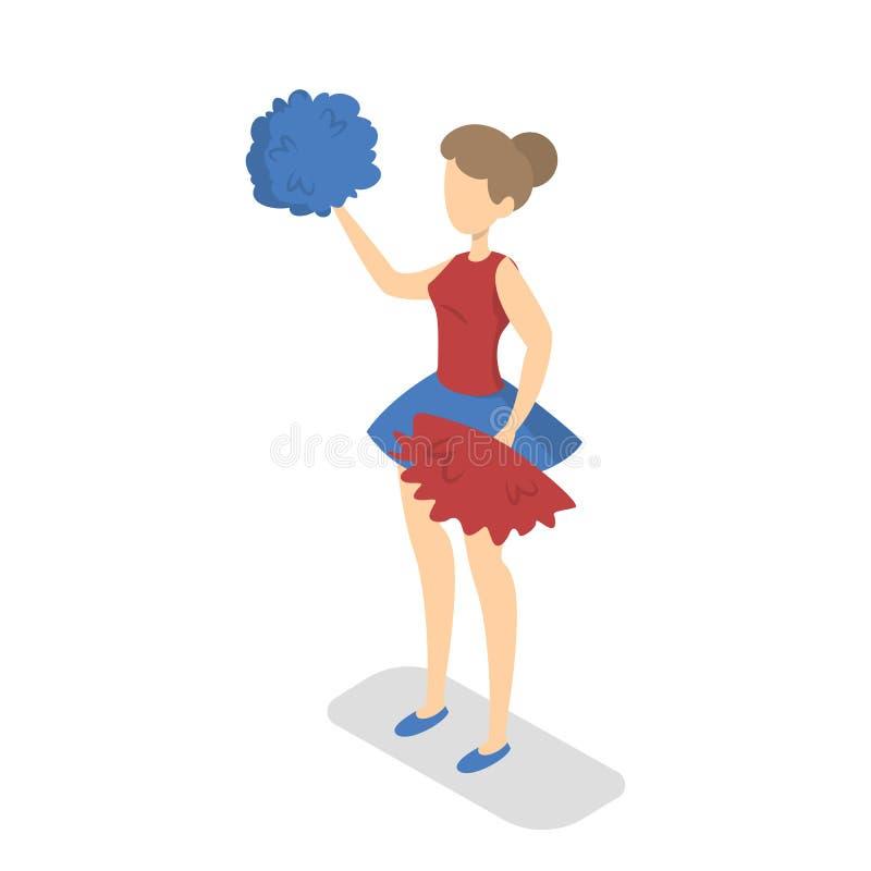 Junges Cheerleadermädchen in der Uniform mit Quasten lizenzfreie abbildung