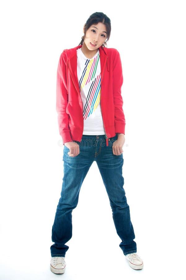 Junges chinesisches Mädchen in der Strickjacke stockbild
