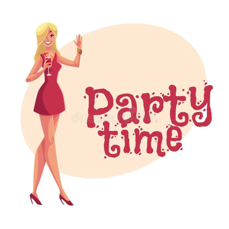 Junges clubber Mädchen in kurzes Kleidertrinkendem Cocktail an der Partei lizenzfreie abbildung
