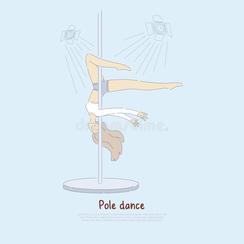Junges dünnes Mädchen, professioneller weiblicher Ausführender in der Sportkleidung, sexy Tänzer, der Stangentanz, Eignungsfahne  vektor abbildung