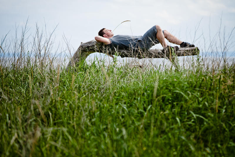 Junges erwachsenes friedlich sich entspannen in der Natur stockbild