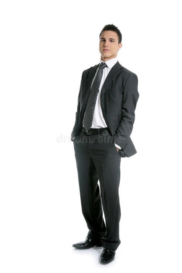 Junges Fastfood- des Geschäftsmannes, in voller Länge auf Weiß stockfoto