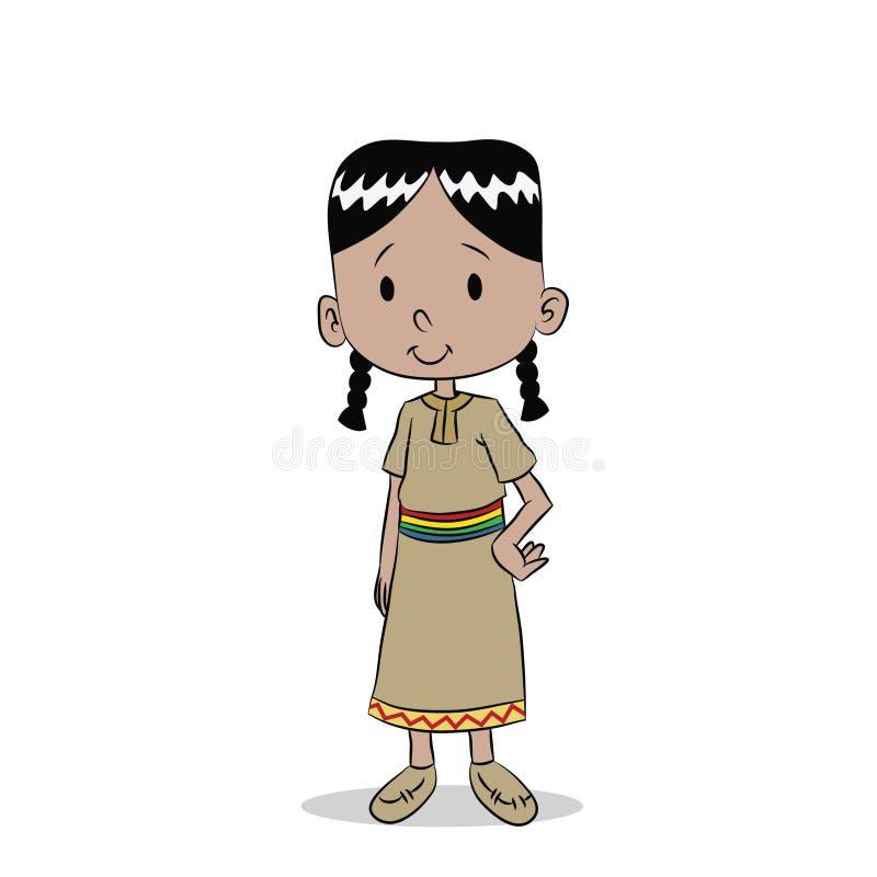 Junges gebürtiges indianisches Mädchen lizenzfreie abbildung