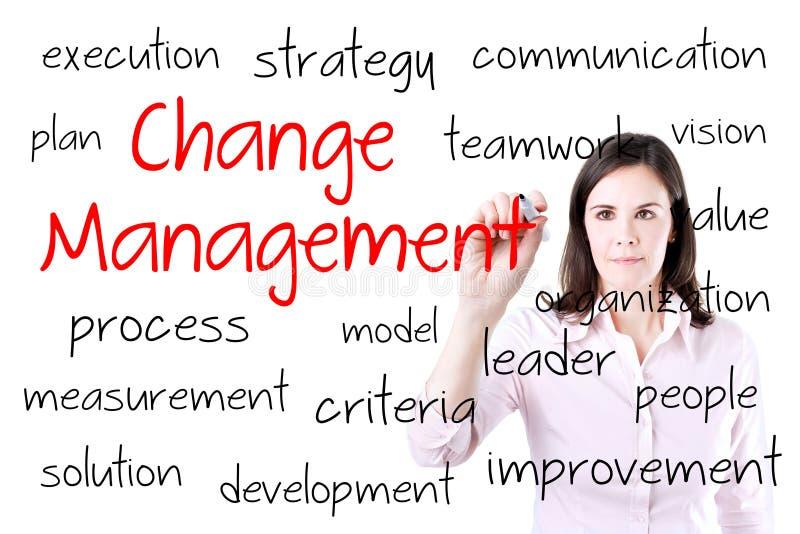 Junges Geschäftsfrau-Schreibensänderungs-Managementkonzept Lokalisiert auf Weiß lizenzfreie stockfotos