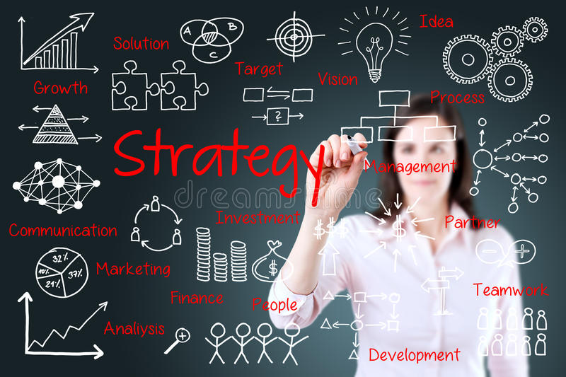 Junges Geschäftsfrau-Schreibens-Geschäftsstrategiekonzept lizenzfreies stockfoto