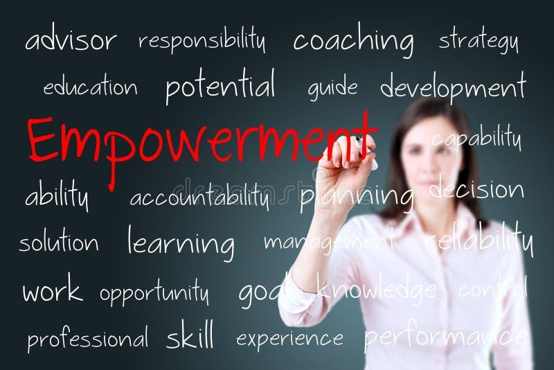 Junges Geschäftsfrau-Schreibensermächtigungskonzept stockbilder